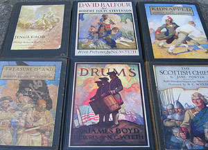 A collection of children's books illustrated by artist N.C. Wyeth.