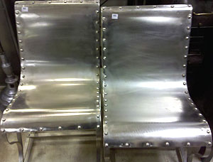 metal industrial furniture. Industrial Steel Lounge Chairs With Riveted Design And Sling Seats. Metal Furniture