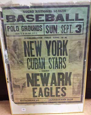The full poster for the 1944 game between the Newark Eagles and the New York Cubans.