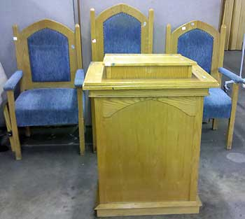 Church Pulpit And Chairs