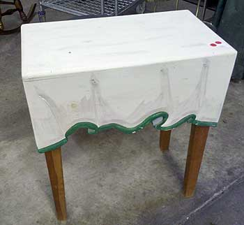 white table with folds