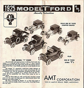 Model T car kit instructions