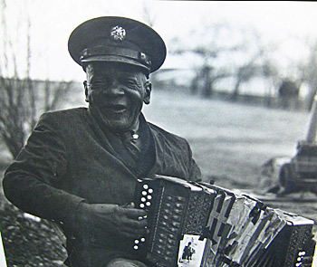 Elderly African American accordion player