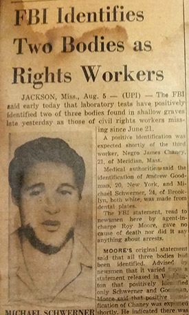 newspaper article about civil rights workers
