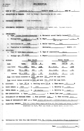 Lucy Dalton Home Owners' Loan Corporation form for Asheville
