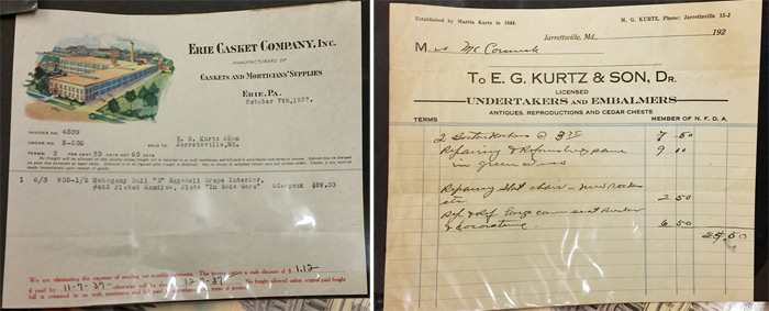 The funeral home document on the left shows the purchase of a casket.