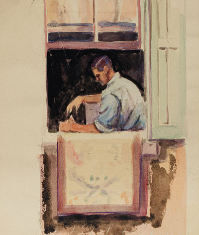"Dox Thrash's ""Man in Window,"" a watercolor that went unsold at Doyle New York. Photo is from the auction house website."
