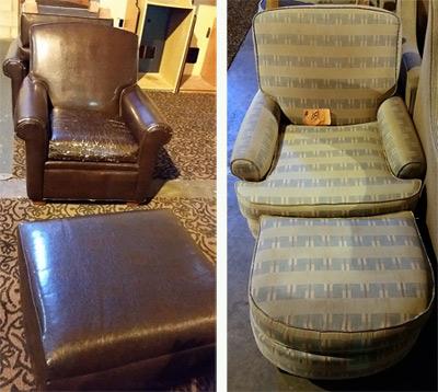 Leather chairs and fabric chairs.