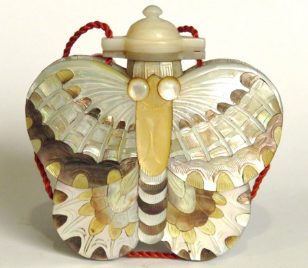 Mother of pearl Chinese snuff bottle in form of a butterfly, $200.
