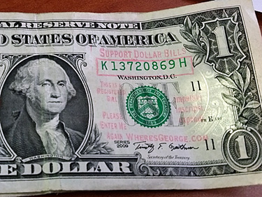 """Where's George"" $1 bill"