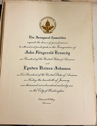 Invitation to Kennedy's 1961 inauguration | Auction Finds