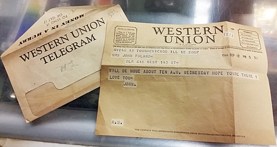 Western Union telegram and envelope
