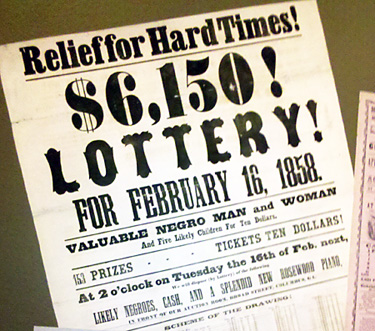 A copy of an 1858 broadside announcing a lottery for a piano and enslaved Africans.