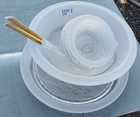 set of iced-over bowls