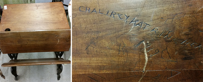 quatersawn oak school desk