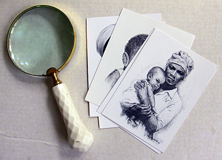 j. macdonald henry note cards and magnifying glass