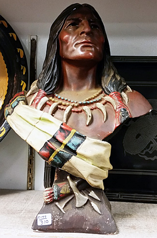Plaster bust of Native American