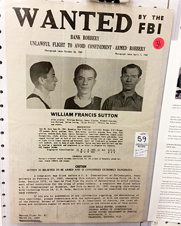 Willie Sutton fbi poster