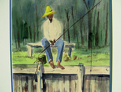 fishing watercolor