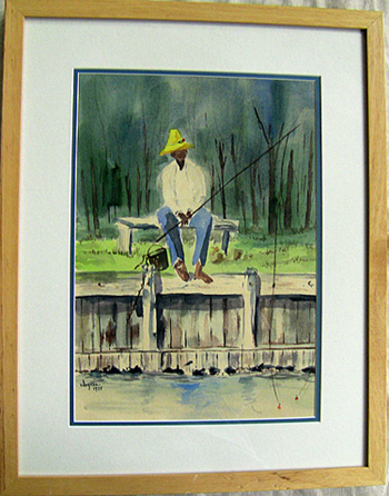 full view fishing watercolor