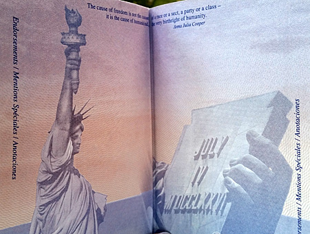 US passport, Anna Julia Cooper quote
