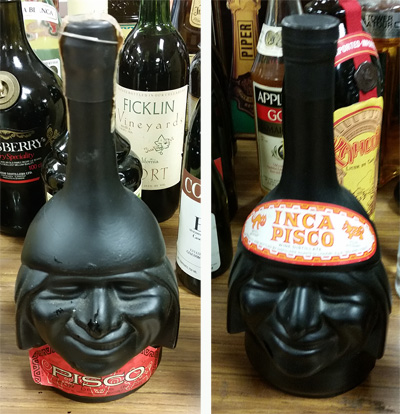 Inca Pisco brandy, whose bottle is in the shape of an Inca male's face. Made in South America.