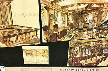 Architectural drawings of what is presumably Berry Gordy's office in Los Angeles, 1972.