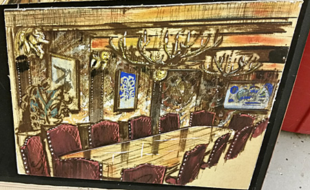 An architectural drawing of the conference table draped by an elaborate chandelier.
