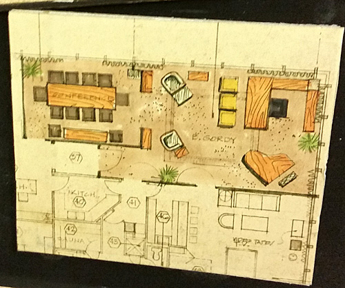 A schematic drawing of Berry Gordy's Los Angeles office.