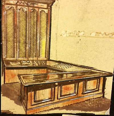 Architect drawing of an executive desk, and credenza and hutch.