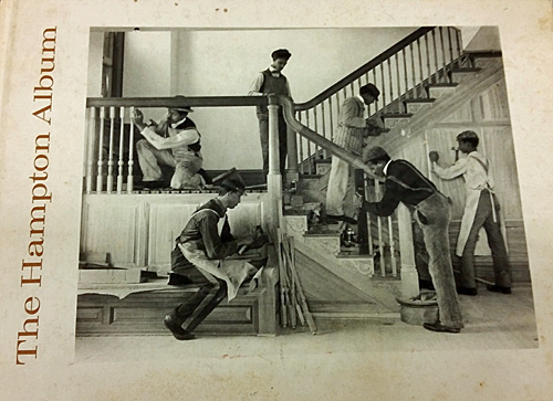 """Hampton Album"" cover with photos of students building the staircase at the treasurer's house."