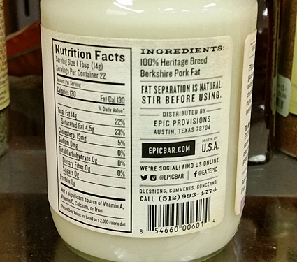 The back label on the Epic pork fat jar, noting the nutrition facts and more.