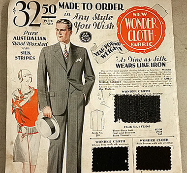 A Sears made-to-order suit in Wonder Cloth, with fabric swaths.