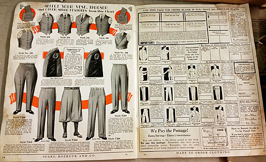A page of clothing accessories for men, along with instructions for measuring the body.