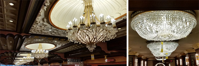 Crystal chandeliers in the lobby, left, and at the elevators, right.