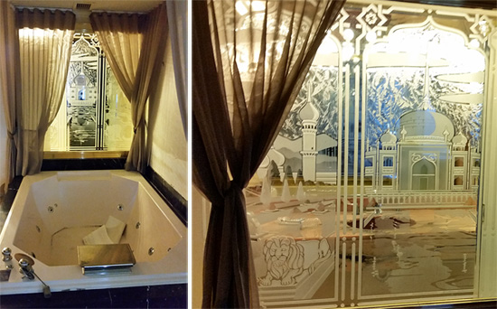 This etching near a Jacuzzi tub in a suite was prized at $295.