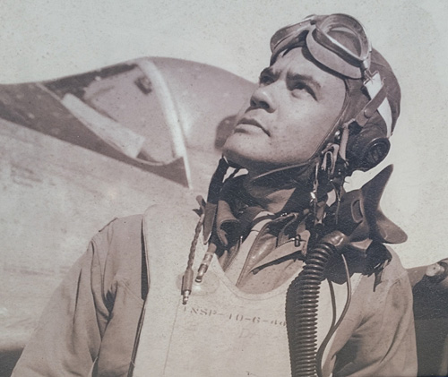 Benjamin O. Davis Jr., a Tuskegee Airman graduate and commander of the 332nd and 99th Fighter Squadron. This photo is on a board on the Moton Field site.