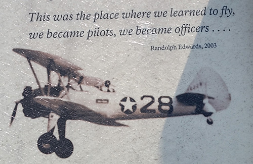 A quote on the boards at the Tuskegee Airmen National Historic Site in Alabama.