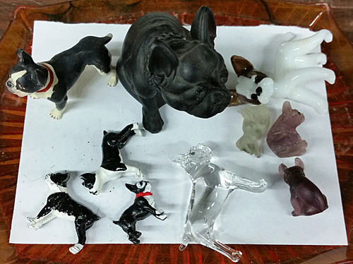Boston Terrier glass figurines.