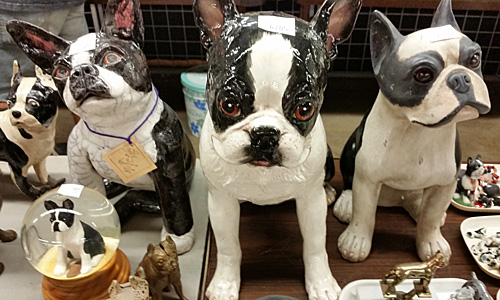 Boston Terrier ceramic an stone figurines.