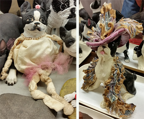 The Boston Terrier on the left looks to be made of papier-ache head and cloth body. At right is a fanciful Terrier.