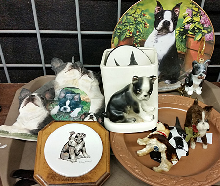 Boston Terrier plate, vase, pictures and more.