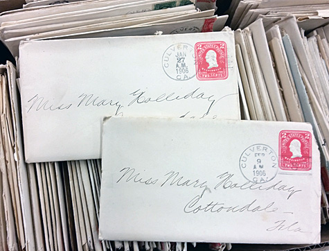 Two letters sent to a woman in Cottondale, FL, bear no street address. But she apparently got them.