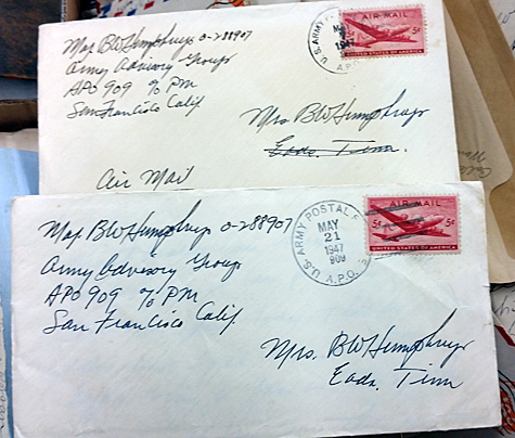 Two letters from a major in the U.S. military presumably to his wife.