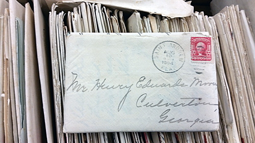 A 1914 letter with a name and a city in Georgia.