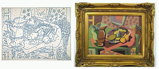 At left is Dan Robbins' first paint-by-numbers image. At right is the painting he completed.