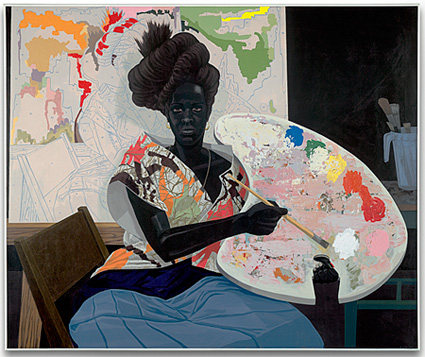 Untitled, 2009, by African American artist Kerry James Marshall shows a paint-by-numbers painting in the background.