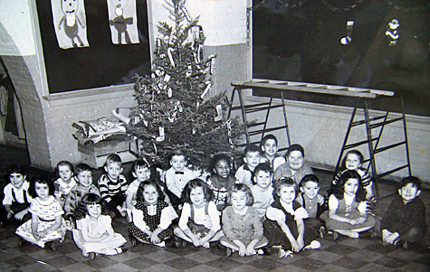 Elementary school photo. This Christmas-time photo was stamped with the address of a Yonkers, NY, photography service.