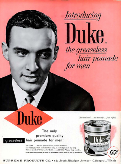 Hal DeWindt in a Duke ad in Ebony magazine, July 1960.