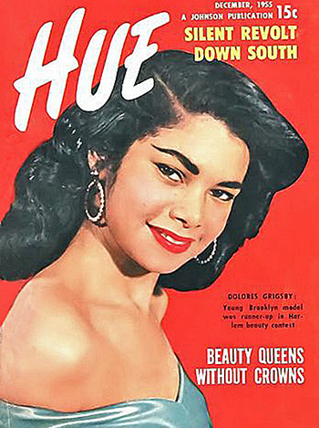 Model Dolores Grigsby on cover of December 1955 Hue magazine.
